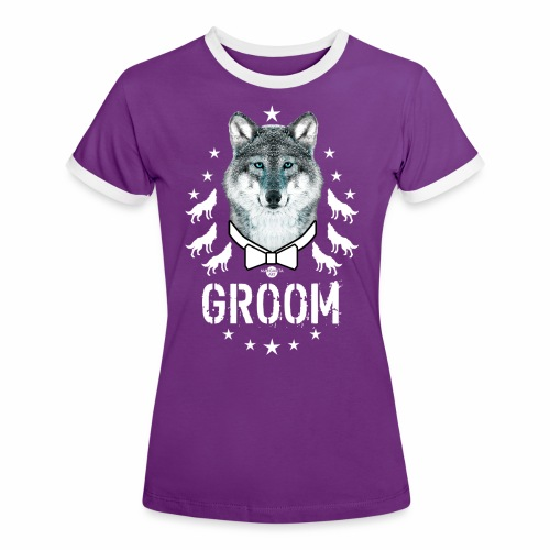 161 Wolf JGA GROOM Wolfpack Sterne - Frauen Kontrast-T-Shirt