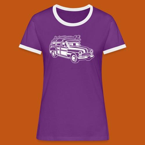 Chevy Cadilac Woodie / Oldtimer Kombi 01_weiß - Frauen Kontrast-T-Shirt