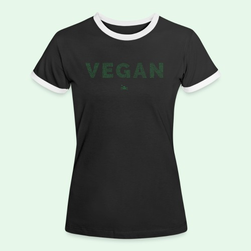 Vegan - Green - Kontrast-T-shirt dam
