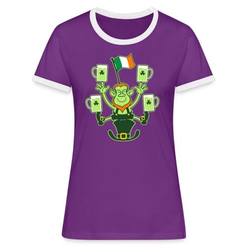Leprechaun Juggling Beers and Irish Flag - Women's Ringer T-Shirt
