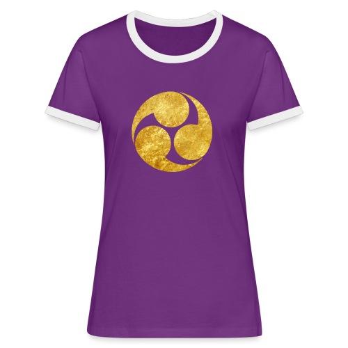 Kobayakawa Mon Japanese clan gold on black - Women's Ringer T-Shirt