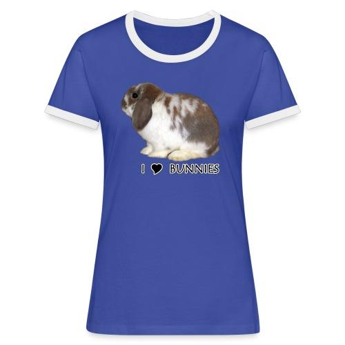 I Love Bunnies Luppis - Naisten kontrastipaita