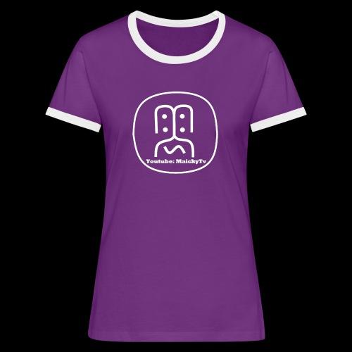 MaickyTv Logo Weiß - Frauen Kontrast-T-Shirt