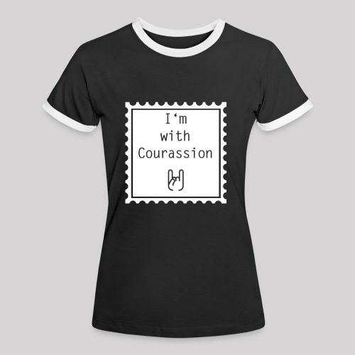 I'm with Courassion white - Frauen Kontrast-T-Shirt