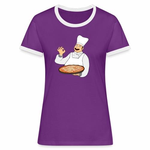 Pizza Bäcker - Frauen Kontrast-T-Shirt