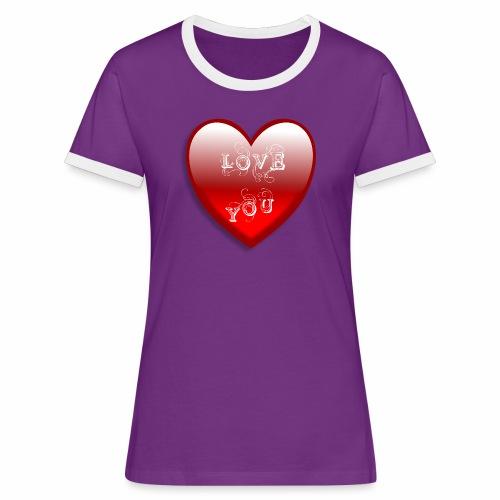 Love You - Frauen Kontrast-T-Shirt