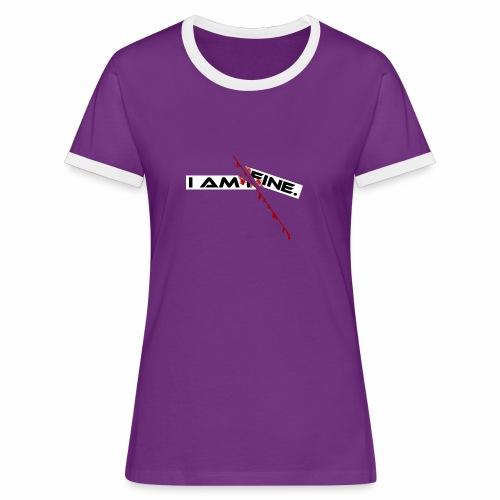 I AM FINE Design mit Schnitt, Depression, Cut - Frauen Kontrast-T-Shirt