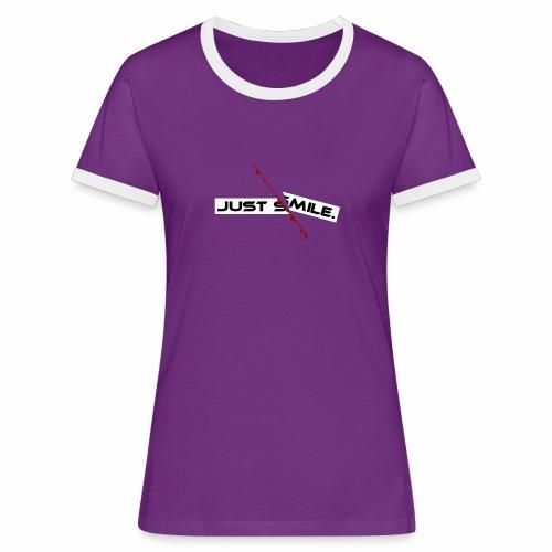 JUST SMILE Design mit blutigem Schnitt, Depression - Frauen Kontrast-T-Shirt