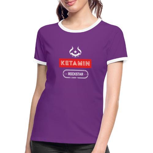 KETAMIN Rock Star - White/Red - Modern - Women's Ringer T-Shirt