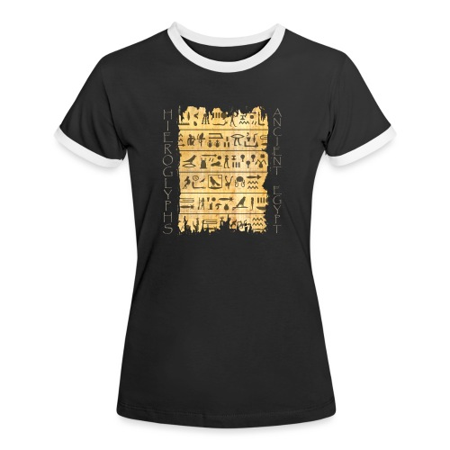 ausgerissener Papyri mit Hieroglyphen - Frauen Kontrast-T-Shirt