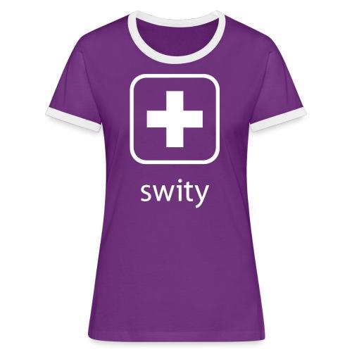 Schweizerkreuz-Kappe (swity) - Frauen Kontrast-T-Shirt