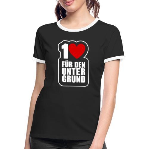 1 Herz für den Untergrund - Logo weiß - Frauen Kontrast-T-Shirt