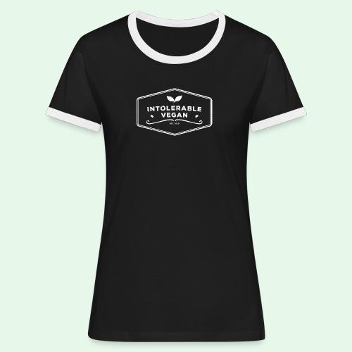 Intolerable Vegan Logo - White - Kontrast-T-shirt dam