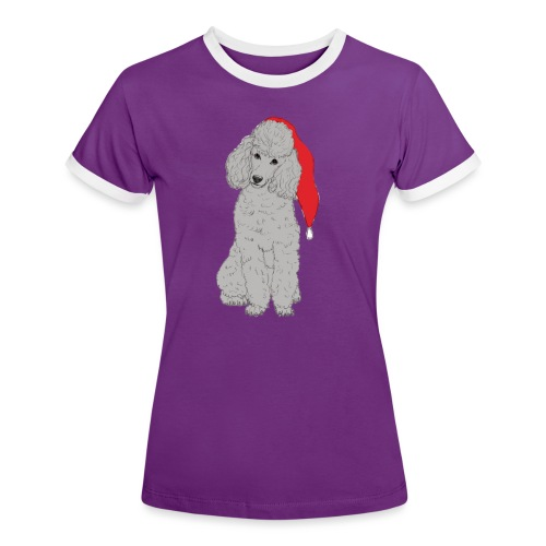 Poodle toy G - christmas - Dame kontrast-T-shirt