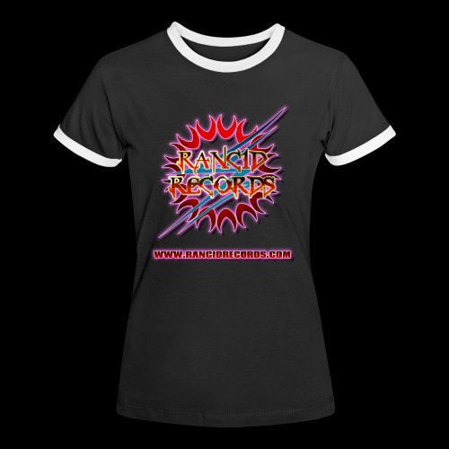 Records Logo Transparent with website pink glow - Women's Ringer T-Shirt
