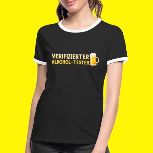 Verifizierter Alkohol-Tester - Frauen Kontrast-T-Shirt
