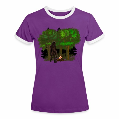 Bigfoot Campfire Forest - Women's Ringer T-Shirt