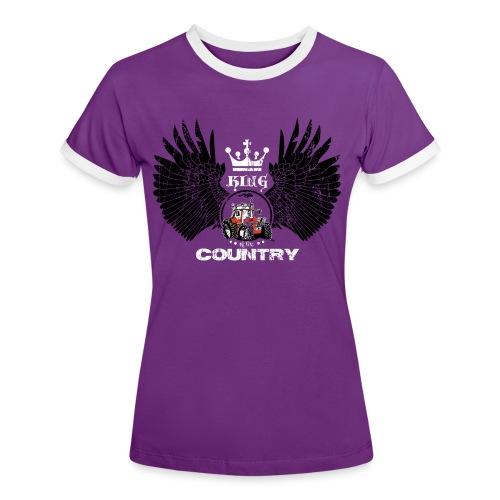 WINGS King of the country zwart wit op rood - Vrouwen contrastshirt