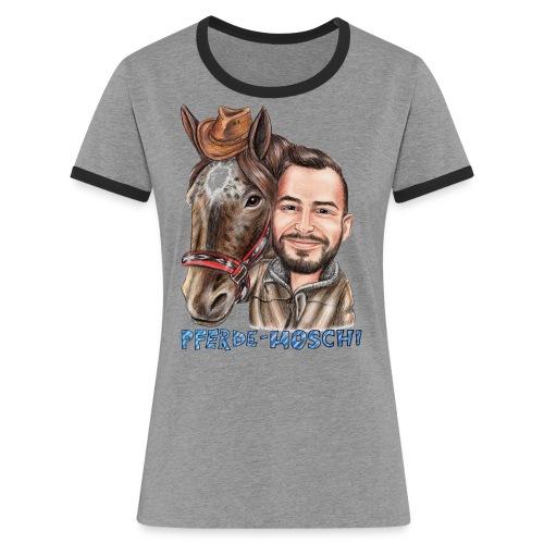 Pferde-Hoschi Kollektion hinten - Frauen Kontrast-T-Shirt