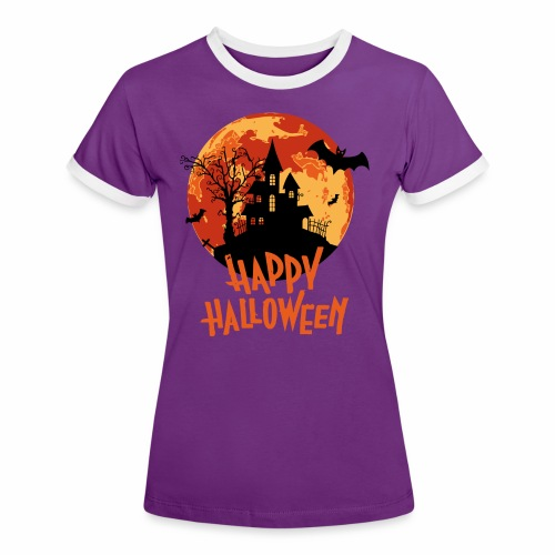 Bloodmoon Haunted House Halloween Design - Frauen Kontrast-T-Shirt