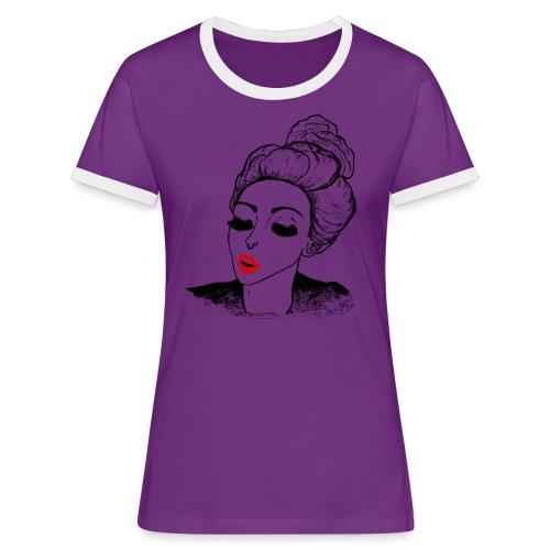 Vintage Retro Girl Kiss message - Women's Ringer T-Shirt
