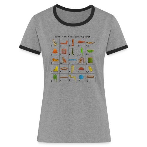 Ägyptisches Alphabet - Frauen Kontrast-T-Shirt