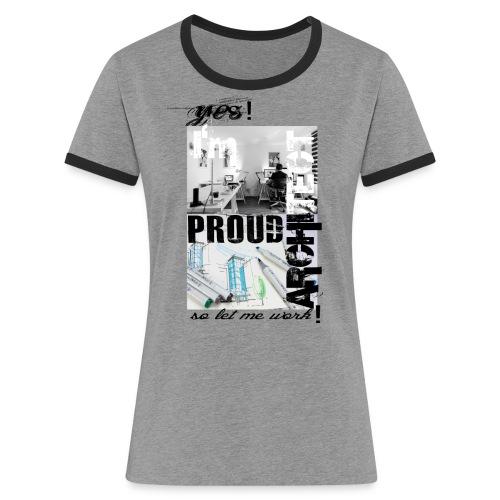 Proud of being arichitect - Koszulka damska z kontrastowymi wstawkami