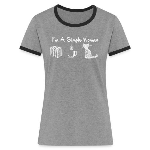 Vorschau: simple woman cat books - Frauen Kontrast-T-Shirt