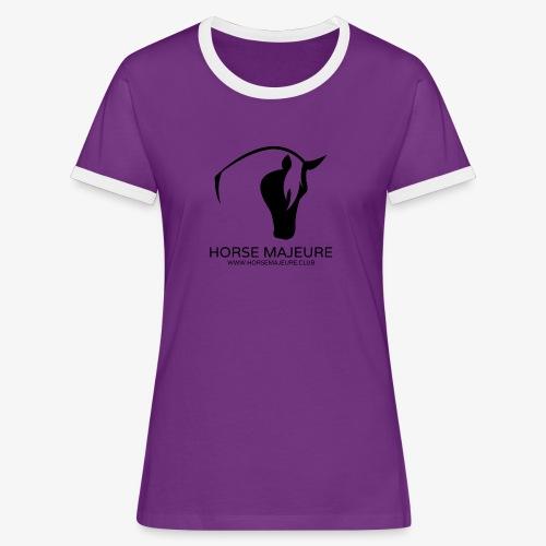 Horse Majeure Logo / Musta - Naisten kontrastipaita