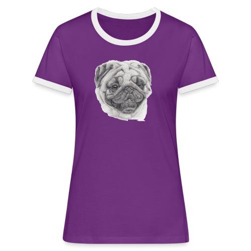 Pug mops 2 - Dame kontrast-T-shirt