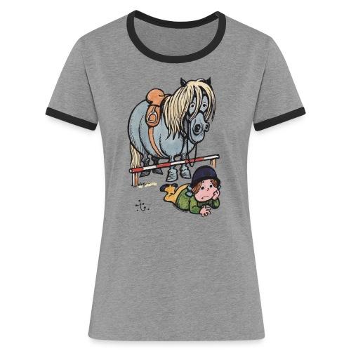 Thelwell Reiterin Liegt Hinter Dem Sprung - Frauen Kontrast-T-Shirt