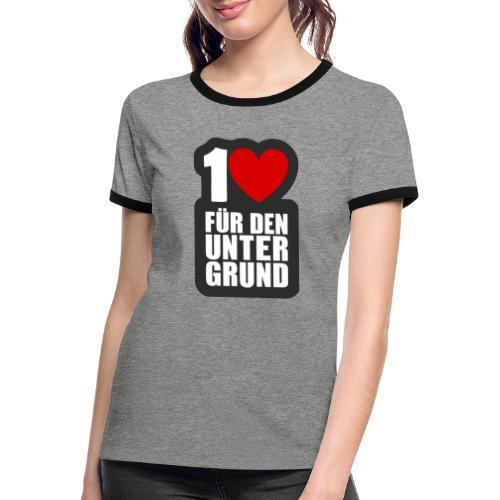 1 Herz für den Untergrund - Logo grau - Frauen Kontrast-T-Shirt