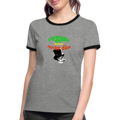 Reggae Muziek Never Dies - Vrouwen contrastshirt