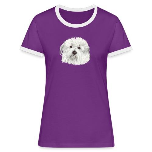 coton-de-tulear - Dame kontrast-T-shirt