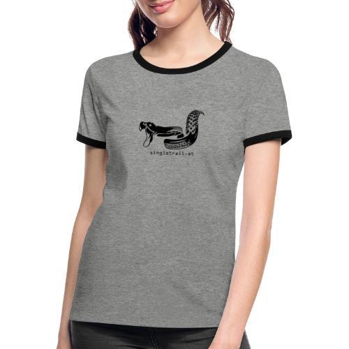 Die Singletrail Snake mit dezenter Web Adresse - Frauen Kontrast-T-Shirt