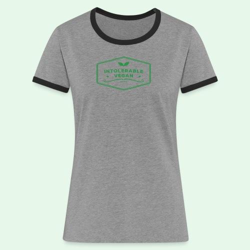 Intolerable Vegan Logo - Green - Kontrast-T-shirt dam