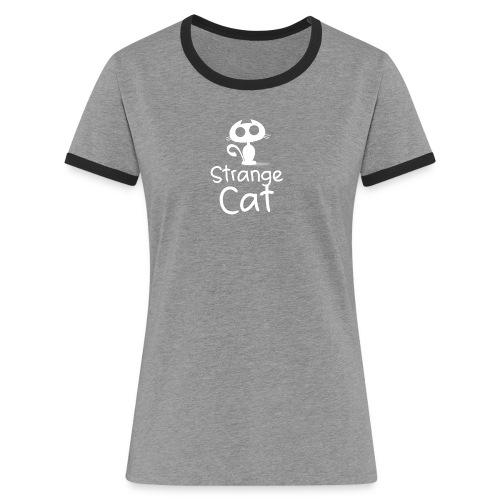 Strange Cat Blanc - T-shirt contrasté Femme