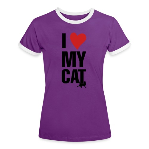 I_LOVE_MY_CAT-png - Camiseta contraste mujer