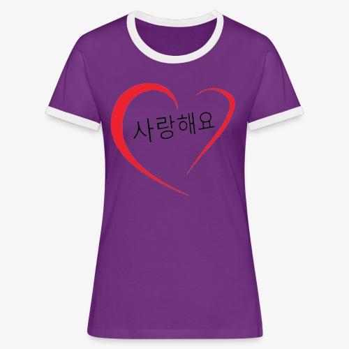 Saranghaeyo (je t'aime en coréen) - T-shirt contrasté Femme