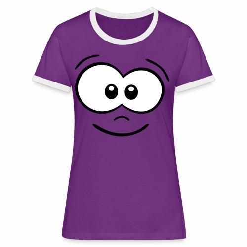 Gesicht fröhlich - Frauen Kontrast-T-Shirt