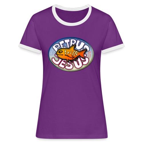 Petrus trifft Jesus Logo - Frauen Kontrast-T-Shirt