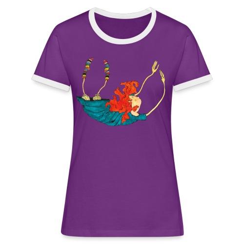 Frit fald - Dame kontrast-T-shirt
