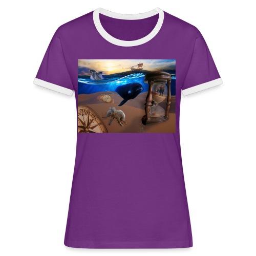 Wodne Przemyślenia - Koszulka damska z kontrastowymi wstawkami