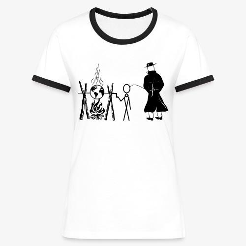 Pissing Man against human self-destruction - Frauen Kontrast-T-Shirt