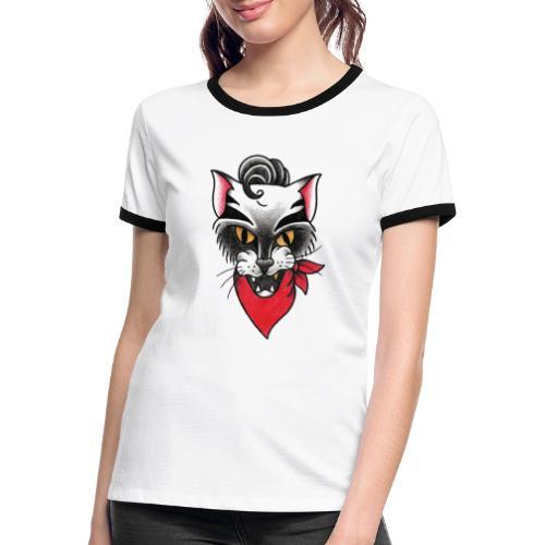 Rockabillycat - Maglietta Contrast da donna