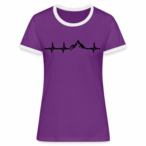 Herzschlag - Berg - Frauen Kontrast-T-Shirt