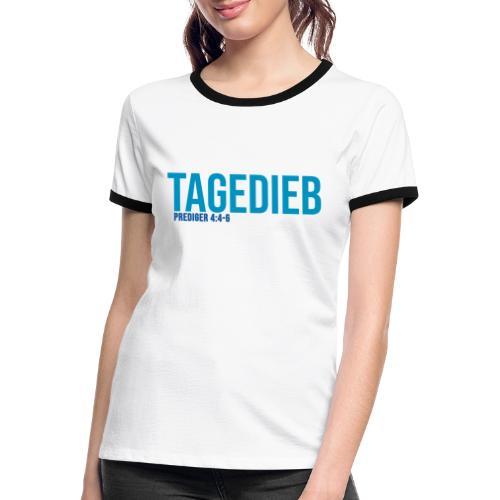 TAGEDIEB - Print in blau - Frauen Kontrast-T-Shirt