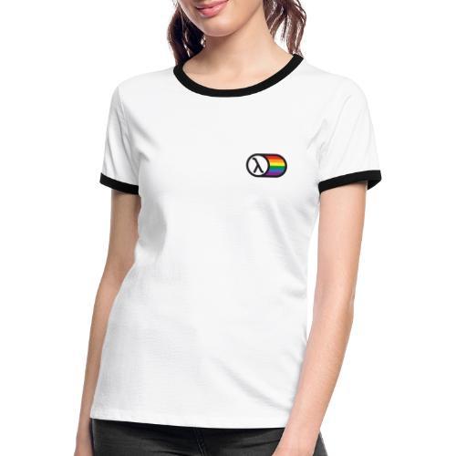 Lambda Regnbuelogo - Dame kontrast-T-shirt