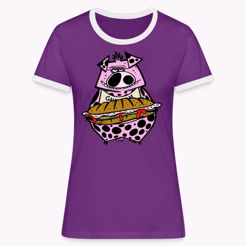 pig vs pig col - Maglietta Contrast da donna