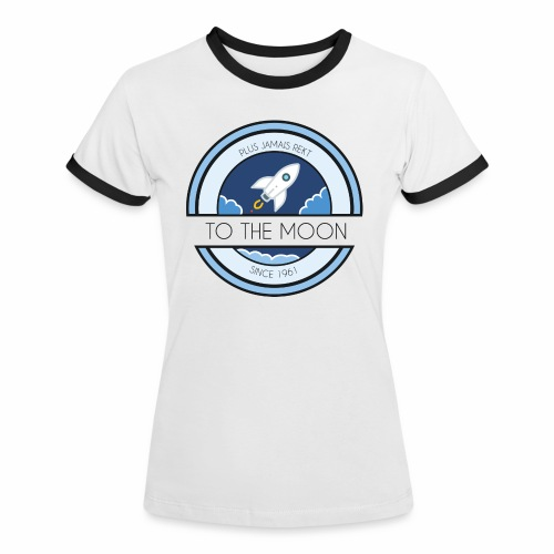 CryptoLoco - To the MOON ! - White - T-shirt contrasté Femme